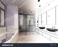 abstract sketch design interior bathroom stock illustration