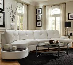 furniture white curved sectional sofa with oval glass table and