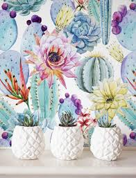 Temporary Wallpaper Uk Watercolor Cactus Wallpaper Removable Wallpaper Self Adhesive