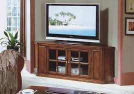 Wooden Tv Stands For Lcd Tvs Corner Brown Cherry Wood Tv Stand With Rectangle White Led Tv On