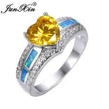 opal wedding ring heart cut yellow topaz blue opal wedding ring white gold