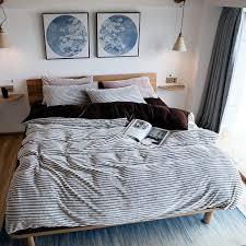 winter flannel bedding set brown fleece bed sheet warm stripes style