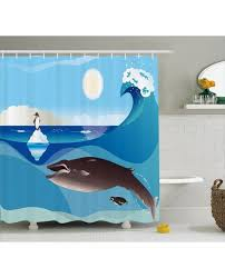 Animal Shower Curtains Shower Curtain Penguin Wave In Pole Print For Bathroom
