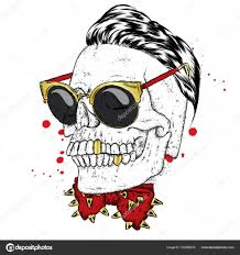a stylish skull with glasses and a butterfly with spikes vector