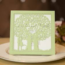 monogram wedding invitations mint tree with heart laser cut wedding invitations swws010