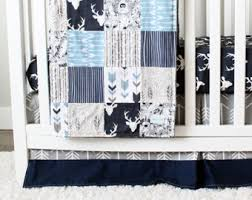 Blue And Gray Bedding Nursery Bedding Etsy