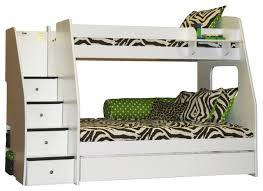 bedroom pretty staircase twin over full bunk bed in white