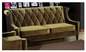 barrister diamond tufted high back sofa in olive green
