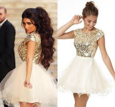 2015 little white ivory dresses bling bling sequined short sleeve