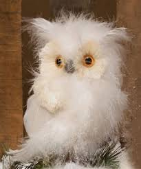 raz flat white feathered owl decoration white made of