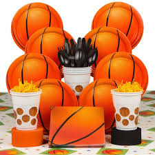 basketball party supplies basketball party deluxe kit serves 8 party supplies walmart