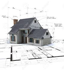 Residential Blueprints House Mock Up On Top Of Blueprints With Pen Notes And Corrections