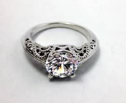 art deco engagement ring filigree engagement ring 14k white