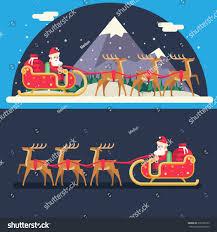 santa claus sleigh reindeer gifts winter stock vector 316398155