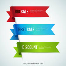 discount ribbon discount banners in ribbons style vector free