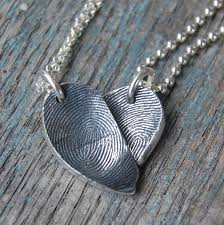 couple necklace chains images Custom couple best friends fingerprint heart necklace set two jpeg