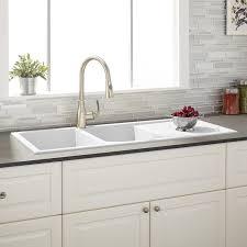 sinks white color top mount farmhouse kitchen sink on black