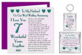 7 year wedding anniversary gift my husband 7th wedding anniversary gift set card keyring