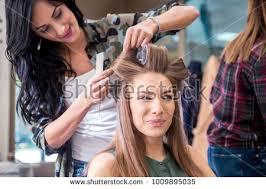 hair dresser s day working day inside hair salon hairdressers stock photo 735423751