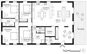 plan de maison 100m2 3 chambres incroyable plan maison 100m2 plein pied 3 chambres 12 plan