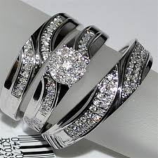 wedding set trio wedding set three mens band and womens bridal rings 10k