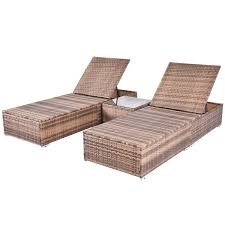 3 pcs wicker lounge adjustable chaise chair sunloungers