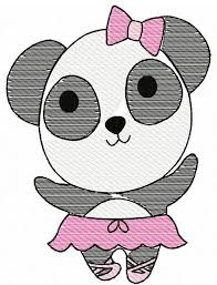 panda ballerina sketch embroidery design panda embroidery design