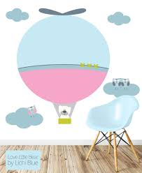 36 hot air balloon wall decals hot air balloon watercolor wall hot air balloon wall decal reusable fabric wall decal by lichiblue