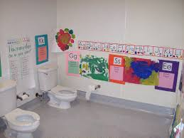 alluring preschool bathroom full size toilet next to kids at a