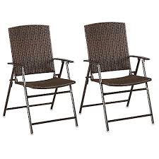 Patio Folding Chair Barrington Wicker Bistro Folding Chairs In Brown Set Of 2 Bed