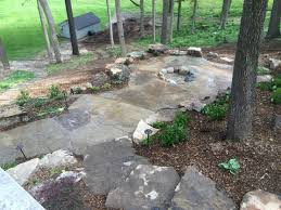 Rock Backyard Landscaping Ideas Rock Landscape Design On A Sloped And Wooded Backyard