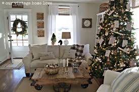 living room blue gold silver christmas tree corner fireplace