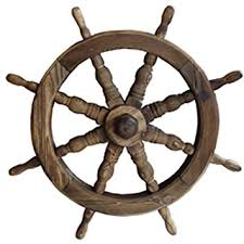 ships wheel solid wood garden ornament burntwood co uk