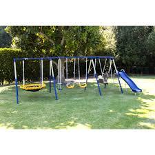 Metal Playsets Sportspower Outdoor Super 8 Fun Metal Swing And Slide Set