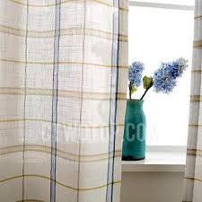 Blue And Yellow Curtains Prints And White Gingham Print Linen Contemporary Sheer Curtains