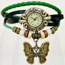 Watches For Jewelry Making Vintage Style Green Leather Strap With Butterfly Pedant Fashion