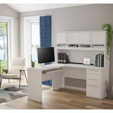 White L Shaped Desk With Hutch L Shaped Desks Home Office Furniture For Less Overstock