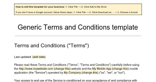 generic terms and conditions template google docs