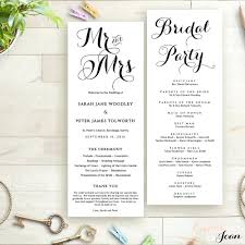 wedding program order template wedding programs template