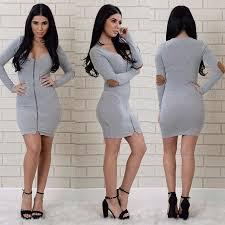 zipper design broken holes gray long sleeve mini dress online