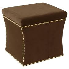 Brown Microfiber Storage Ottoman Chocolate Brown Storage Ottoman Large Storage