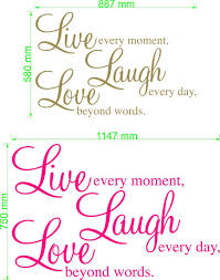 live every moment laugh every day love beyond words wall live laugh love wall decal size chart