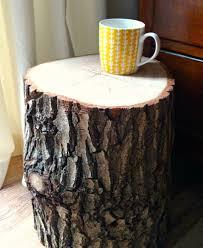 Log Side Table Log Side Table With Bark