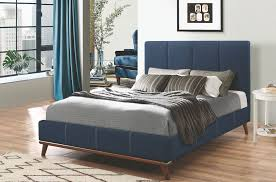 Queen Bed Frames For Sale In Cairns Charity Dark Blue Queen Upholstered Platform Bed From Coaster