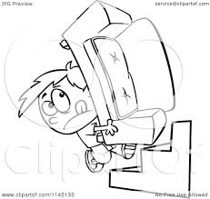 Couch Cartoon Cartoon Clipart Of A Black And White Mover Boy Carrying A Couch Up