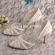 wedding shoes mid heel wedopus new style open toe bridal ivory satin wedding shoes mid
