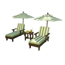 Outdoor Sun Lounge Chairs Amazon Com Kidkraft Wooden Kona 2 Chaise And Umbrella Set Toys
