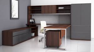 U Shaped Desk Modern At Two U Shaped Desk With Overhead Storage Credenza