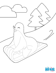 sledding penguin coloring pages hellokids com