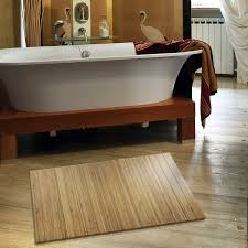 Bamboo Floor Tiles Bathroom Magnificent Extra Slim Bamboo Bath Mat For Eco U2013 Friendly Bathroom